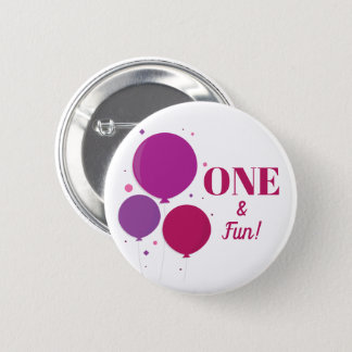 Bóton Redondo 5.08cm Botão roxo do aniversário | um e do divertimento