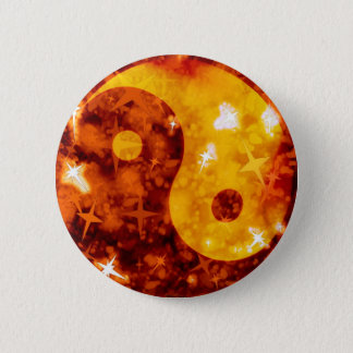 Bóton Redondo 5.08cm Botão sparkly ying dourado de yang
