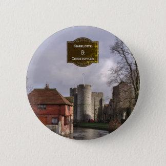 Bóton Redondo 5.08cm Botão tormentoso do casamento do castelo e do rio