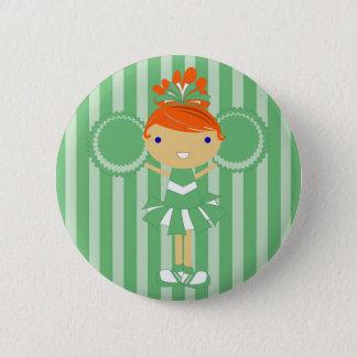 Bóton Redondo 5.08cm Botão verde da festa de aniversário do cheerleader