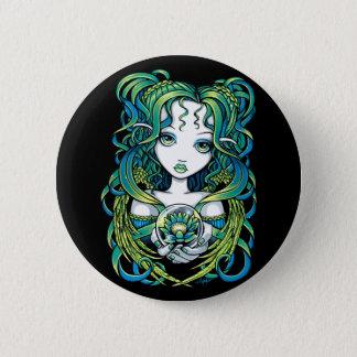 """Bóton Redondo 5.08cm Botão verde de Pinback do anjo da água de """"Kallan"""""""