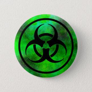 Bóton Redondo 5.08cm Botão verde do símbolo do Biohazard da névoa