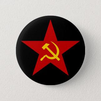 Bóton Redondo 5.08cm Botão vermelho comunista da estrela (martelo &