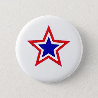 Bóton Redondo 5.08cm botão vermelho da estrela branca e azul