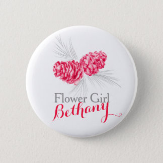 Bóton Redondo 5.08cm Botão vermelho do pino do casamento do cone do