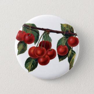 Bóton Redondo 5.08cm Botão vermelho do ramo das cerejas