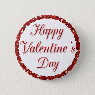 Bóton Redondo 5.08cm Botão vermelho e branco do feliz dia dos namorados
