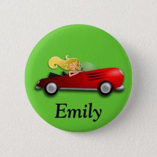 Bóton Redondo 5.08cm Botão vermelho personalizado do carro e da menina