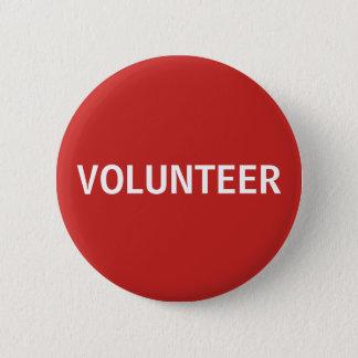 Bóton Redondo 5.08cm Botão voluntário do vermelho e do branco