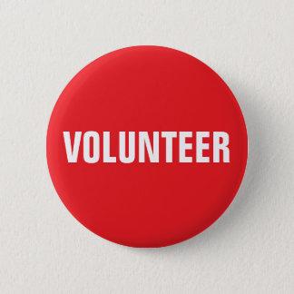 Bóton Redondo 5.08cm Botão voluntário - vermelho e branco