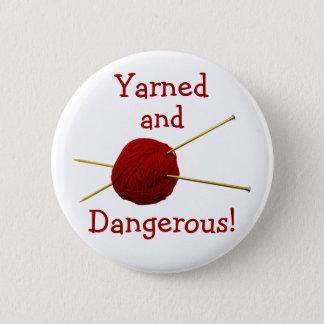 Bóton Redondo 5.08cm Botão Yarned e perigoso