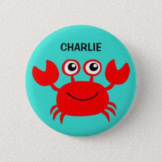 Bóton Redondo 5.08cm Botões felizes do costume do caranguejo