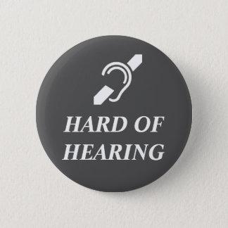 Bóton Redondo 5.08cm Branco com deficiência auditiva no cinza escuro