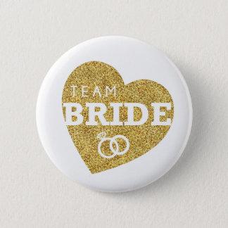 Bóton Redondo 5.08cm Brilho Bachelorette do ouro da noiva da equipe do
