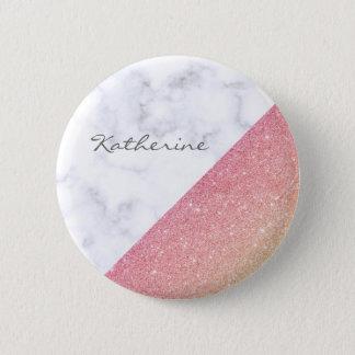 Bóton Redondo 5.08cm Brilho cor-de-rosa do ouro do mármore branco
