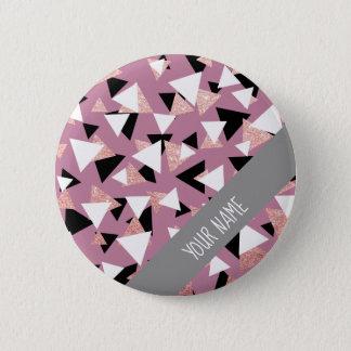 Bóton Redondo 5.08cm Brilho cor-de-rosa do ouro dos triângulos