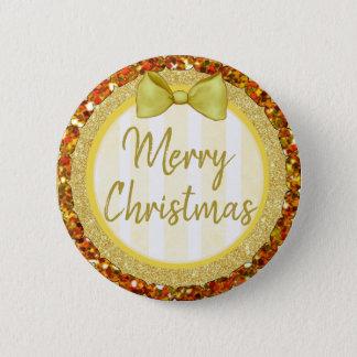 Bóton Redondo 5.08cm Brilho do ouro do Feliz Natal com botão do arco
