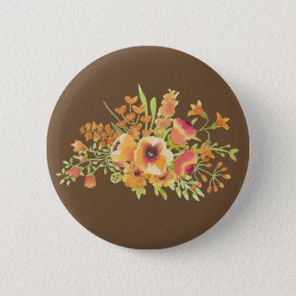 Bóton Redondo 5.08cm Brown floresce o padrão, botão redondo da polegada