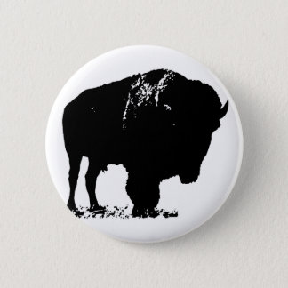 Bóton Redondo 5.08cm Búfalo preto & branco do bisonte do pop art