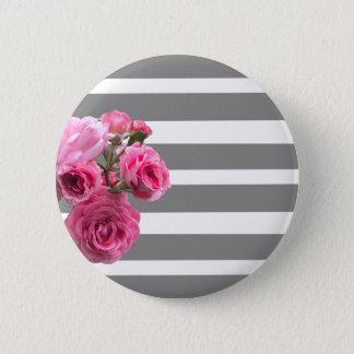 Bóton Redondo 5.08cm Buquê de rosas cor-de-rosa em listras cinzentas