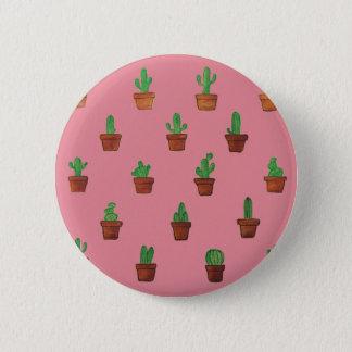 Bóton Redondo 5.08cm Cacto no botão cor-de-rosa do fundo