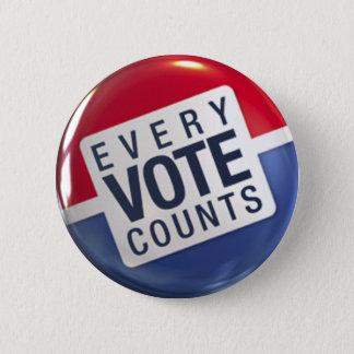 Bóton Redondo 5.08cm Cada voto conta o botão da eleição