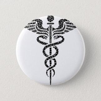Bóton Redondo 5.08cm Caduceus - símbolo médico feito de pilhas do