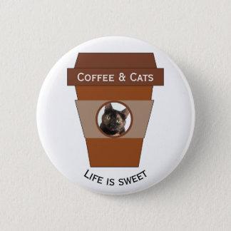 Bóton Redondo 5.08cm Café customizável & gatos - a vida é doce
