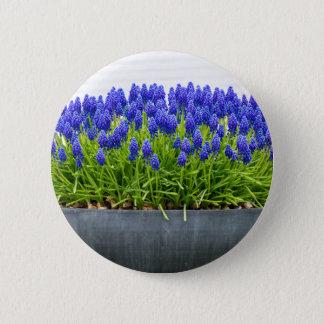 Bóton Redondo 5.08cm Caixa cinzenta da flor do metal com os jacintos de