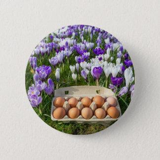 Bóton Redondo 5.08cm Caixa de ovo com os ovos da galinha nos açafrões