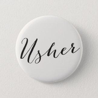 Bóton Redondo 5.08cm Caligrafia de Usher que Wedding o botão nupcial do
