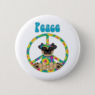 Bóton Redondo 5.08cm Camisetas e presentes adoráveis do Pug da paz