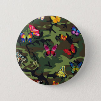 Bóton Redondo 5.08cm camuflagem da borboleta