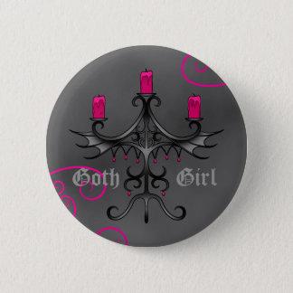 Bóton Redondo 5.08cm Candelabros góticos bonitos no grunge cinzento