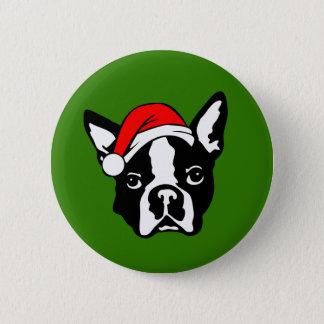 Bóton Redondo 5.08cm Cão de Boston Terrier com o chapéu do papai noel