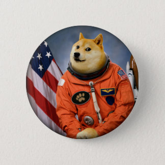 Bóton Redondo 5.08cm cão do astronauta - doge - shibe - memes do doge