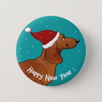 Bóton Redondo 5.08cm Cão do feliz ano novo do Dachshund