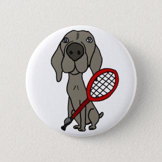 Bóton Redondo 5.08cm Cão engraçado de Weimaraner que joga o tênis
