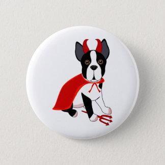 Bóton Redondo 5.08cm Cão pequeno do Dia das Bruxas do diabo