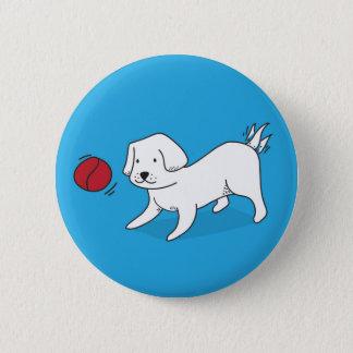 Bóton Redondo 5.08cm Cão que joga com uma bola