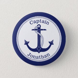Bóton Redondo 5.08cm Capitão de marinho náutico da âncora personalizado