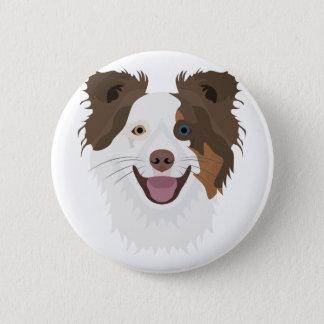 Bóton Redondo 5.08cm Cara feliz border collie dos cães da ilustração