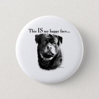 Bóton Redondo 5.08cm Cara feliz de Rottweiler - botão