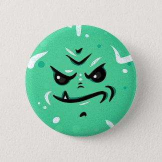 Bóton Redondo 5.08cm Cara verde engraçada do monstro com sorriso de