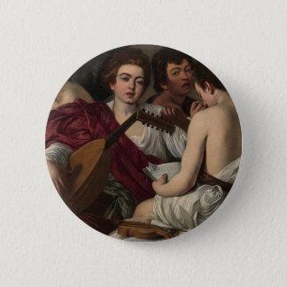 Bóton Redondo 5.08cm Caravaggio - músicos - trabalhos de arte clássicos