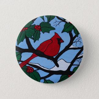 Bóton Redondo 5.08cm Cardeal vermelho do Natal