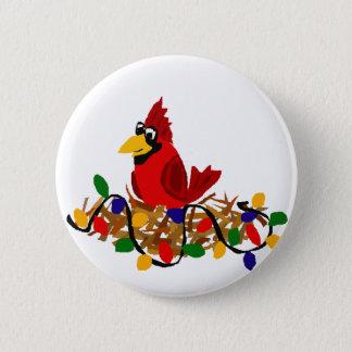 Bóton Redondo 5.08cm Cardeal vermelho engraçado no ninho com luzes de