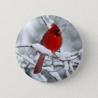 Bóton Redondo 5.08cm Cardeal vermelho no botão da neve