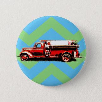 Bóton Redondo 5.08cm Carro de bombeiros vermelho do vintage