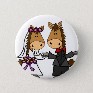 Bóton Redondo 5.08cm Casamento adorável dos noivos do cavalo
